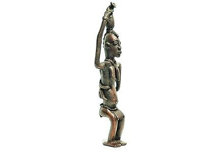Antique African Cast Bronze Tribal Rare Dogon sculpture of a woman with a baby