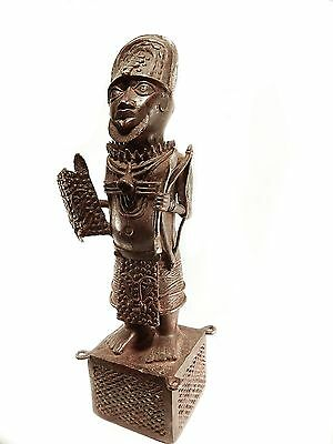 Mega Rare African Tribal Handmade Antique Benin Cast Bronze King Oba Sculpture