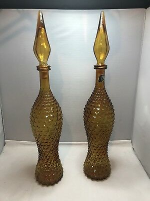 """Vintage Pair Of Matching Glass Decanter Genie Bottle - Italy Rossini Empoli 22"""""""