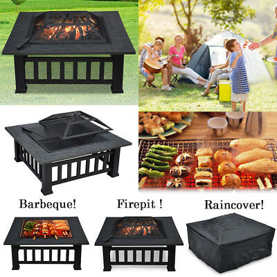 32'' Outdoor Square Fire Pit Garden Stove Brazier Metal w/Cover & Poker Black