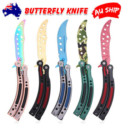 5 colos CSGO Balisong Butterfly Knife Trainer Training Practice Metal Steel Tool