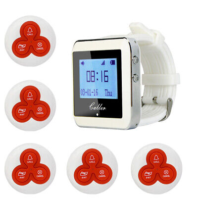 Restaurant Wireless Calling Paging System 999CH 1*Wrist Watch Receiver+5*Pagers