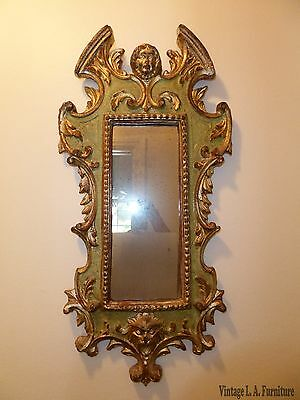 Vintage Rococo Green & Gold Gilt Carved Solid Wood Wall Mirror Made in Italy