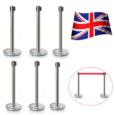 6pc Polished Steel Queue Rope Barrier Velvet Rope Stanchion Posts Stands