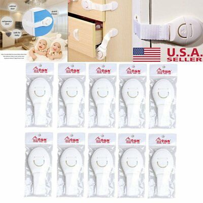 10X Portable Adhesive Safety Locks Latches Child Safty Lock for Fridge Drawer US