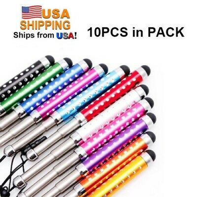 10x Multi-color Crystal Universal Retractable Capacitive Stylus Touch Screen pen