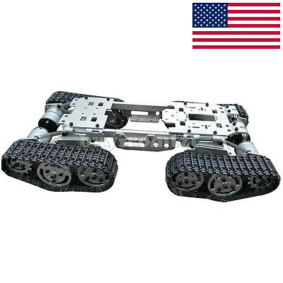 RC Tank Car Truck Robot Chassis 393mmx206mmx84mm Alloy Body 4 Tracks 4 Motors US