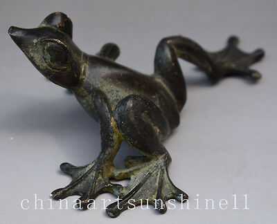 Chinese Old Bronze Handmade Carved Frog Statue Decoration Art