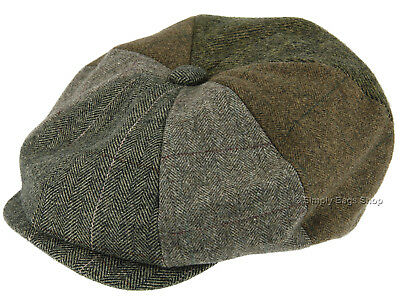 Hawkins Mens Mix Wool Patchwork Tweed 8 Panel Newsboy Flat Cap Hat Headwear 71c1a9554641