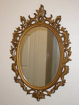 Vintage Bassett Mirror Co. Rococo Style Gold Floral Design Wall MIRROR