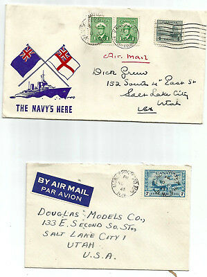 CANADA  1944/5 two covers, both to USA