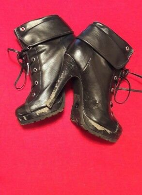 Well Worn Very Loved Heeled Ankle Boots Size 5 Lace Up Zip Private Sale Trashed