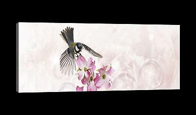 Canvas Picture Print  0007221D13 Titmouse on a Flower Nature Pink Beige Bird Ani