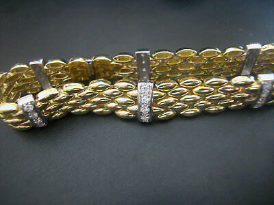 Massives Gelb/Weissgold Brillant Armband (750) 0,85ct. 38,5gr. 19cm Top Zustand!
