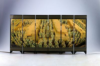 "Exquisite Lacquer Ware Hand Painted ""Terra Cotta Warriors"" Pattern Screen"