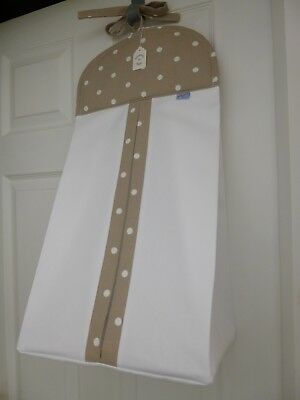 Baby Nappy Stacker - Taupe Dotty Trim - 100% Cotton - Baby Shower Gift -BNWT