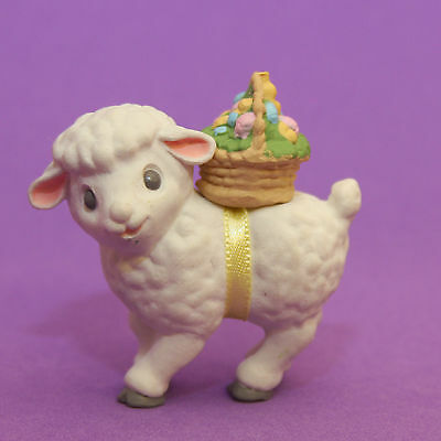 Hallmark Merry Miniature Easter 1989 Lamb w/ Egg Basket QSM1545