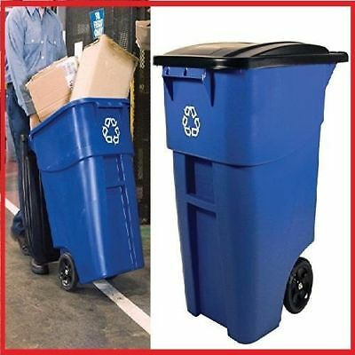 Heavy-Duty Rollout Waste 50Gal Utility Container Tight Lid Blue Recycling Logo