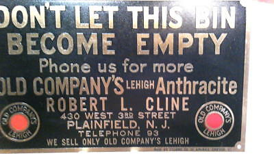 Vintage orig 1910's Brass plaque sign Old Company's Lehigh Anthracite coal.