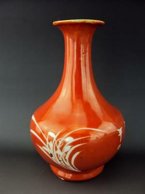 V-Fine 19thC Chinese Famille Rose Red Glazed Vases Oriental Porcelain Antiques