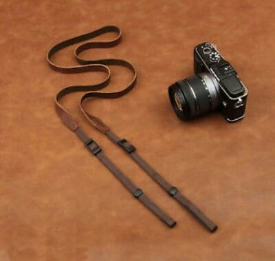 Adjustable Thin Soft Handmade  Leather Camera Neck Strap Leica Sony Fuji Nikon