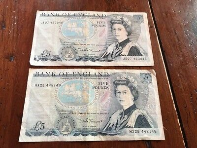 British Currency Lot, 2x Five (5) Bank of England Pound Notes,  Queen- Duke