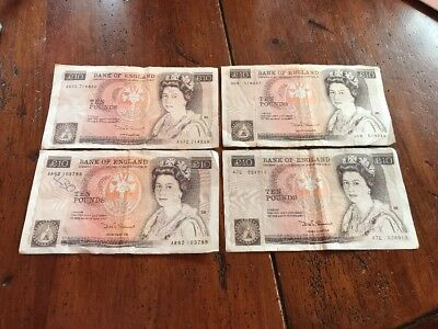 England Great Britain 10 Pound note ~ Florence Nightingale ~ 4 Bills  (lot)
