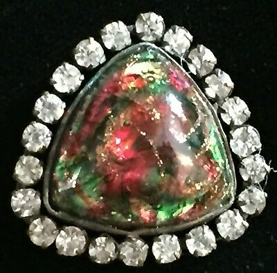 Gorgeous Antique 1800's Green & Red Popper Glass In Metal Button Paste Border