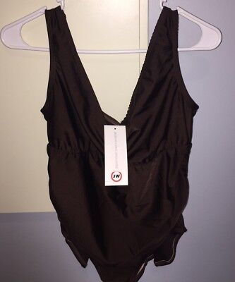 Japanese Weekend Maternity One Piece Brown Swim Suit SMALL New with Tags
