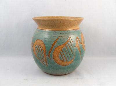 Vintage Mid Century Modern Abstract Art Pottery Vase Signed