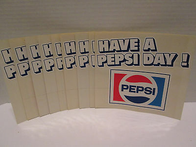 Lot of 10 Vintage Pepsi Stickers *Have a Pepsi Day *1970's *NOS