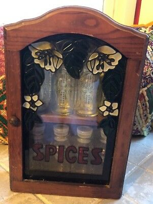Wood 2 Tiered Shelf Spice Rack w/ Door Vintage Retro Kitchen Decor Stained Glass