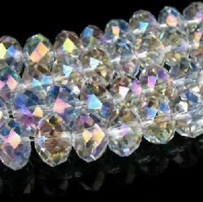 200PCS 6*8MM Wholesale Faceted Crystal Gemstone Loose Beads White AB