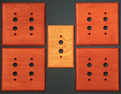 Lot of 5 Premium Wood Push Button Switch Plate Covers in Cherry and Oak