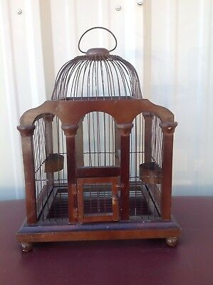 """Vintage Victorian Hand Crafted Wood & Wire Bird Cage 18"""" Tall With Hinged Bottom"""