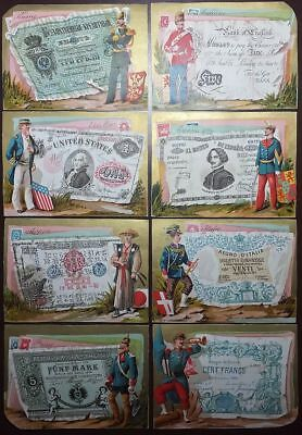 8 EARLY TRADE CARDS of FOREIGN CURRENCY, COAT of ARMS and UNIFORMED SOLDIERS