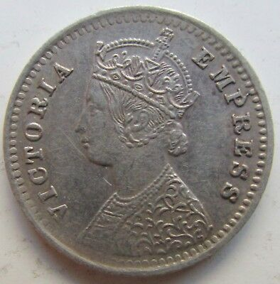 India, British 1892 Silver Two Annas Bombay Mint Victoria
