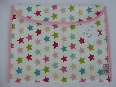 Baby Health Red Record Book Holder Pink Stars Cotton Fabric - Shower Gift - NEW
