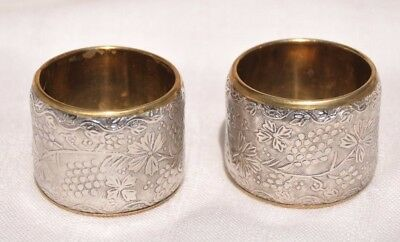 Pair Of 2 Vintage Silver & Brass Floral Design Napkin Rings, Made In India