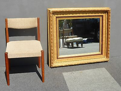 """Beautiful Vintage 1962 French LARGE 39""""H Gold WALL MANTLE MIRROR Carved Wood"""