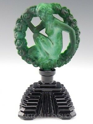 Vintage BOHEMIAN CZECH MALACHITE PERFUME BOTTLE GLASS FLASK ART DECO Signed