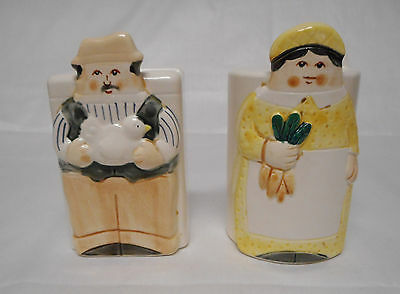 Pair Ceramic Range Salt and Pepper Shakers Figural, Farmer and Farmers Wife