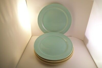 Vintage TS & T Taylor Smith LuRay Pastels Set of 4 Dinner Plates Yellow & Green