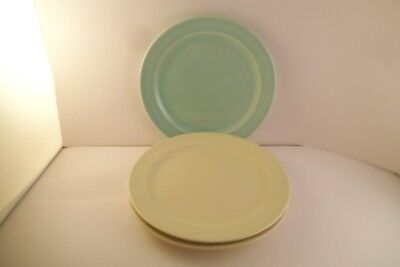 Vintage TS & T Taylor Smith LuRay Pastels Set of 3 Bread Plates Yellow & Green