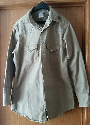 Carhartt Rugged Outdoor Wear Khaki Cotton Shirt With Pearl Snaps Usa Made
