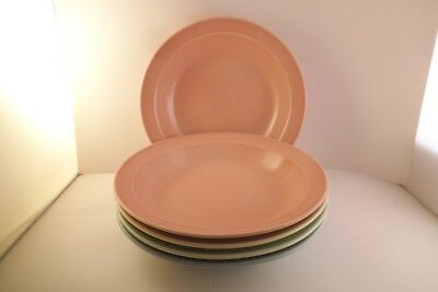Vintage TS & T Taylor Smith LuRay Pastels Set of 5 Rimmed Soup Bowls Pink Blue