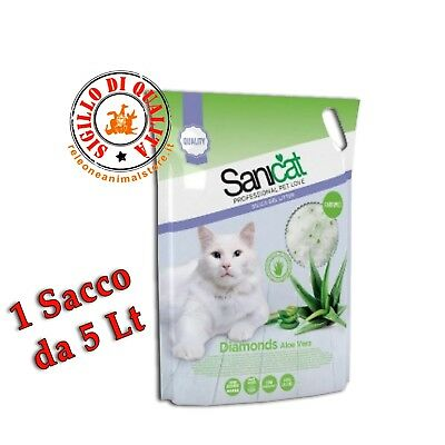 Lettiera SANICAT Silicio Diamonds Profumata ALOE 1 Sacchetto Da 5 Litri Gatto