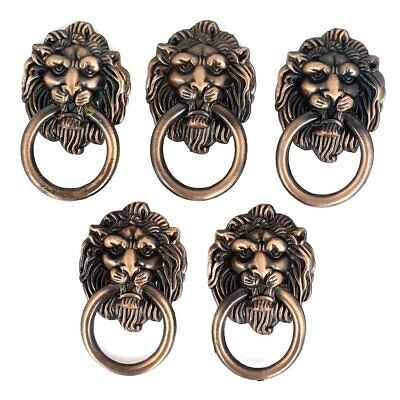 Cupboard Cabinet Drawer Vintage Lion Head Ring Pull Knob Handle 5 Pcs F1T9