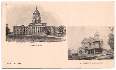 AK US USA Post Card State House Governor´s Residence TOPEKA ungelaufen v. 1945