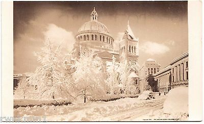 AK US USA Post Card Church of Christ Snow fall Boston No. 10MC ungelaufen 1945